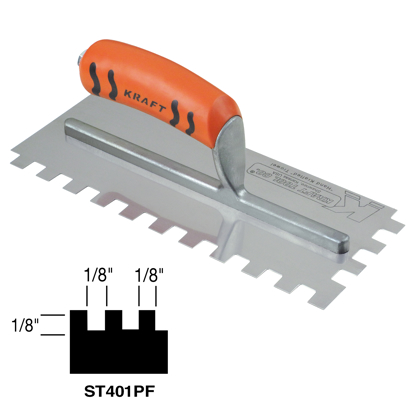 "Picture of 1/8"" x 1/8"" x 1/8"" Square-Notch Trowel with ProForm® Handle in Case Cut Box"