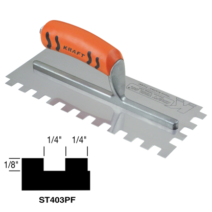"Picture of 1/4"" x 1/8"" x 1/4"" Square-Notch Trowel with ProForm® Handle"