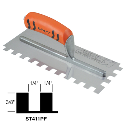 "Picture of 1/4"" x 3/8"" x 1/4"" Square-Notch Trowel with ProForm® Handle (16"" x 4-1/2"")"