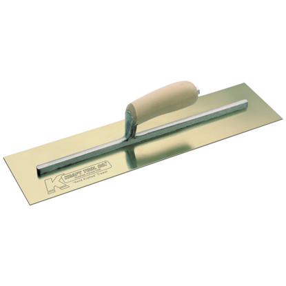 "Picture of 16"" x 5"" Golden Stainless Steel Cement Trowel with Camel Back Wood Handle"