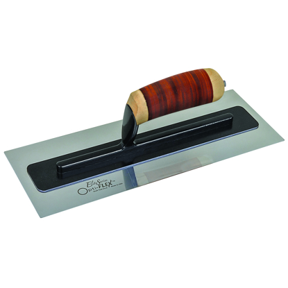 "Picture of Elite Series Five Star™ 18"" x 5"" Opti-FLEX™ Stainless Steel Trowel with a Leather Handle"