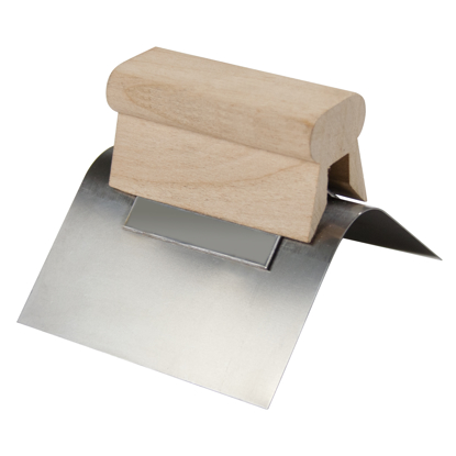 "Picture of 4"" x 2"" 90° Radius Stainless Steel Outside Corner Tool with Wood Handle"