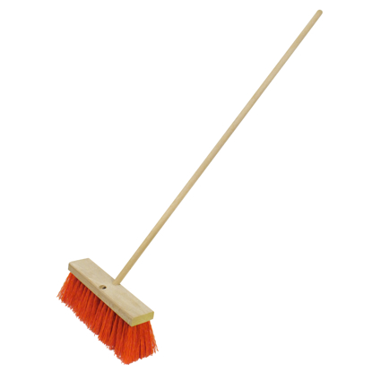 "Picture of 16"" Heavy-Duty Orange Sweeping Broom with Handle"