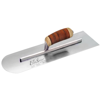 "Picture of Elite Series Five Star™ 14"" x 4"" Carbon Steel Round Front/Square Back Trowel with Leather Handle"