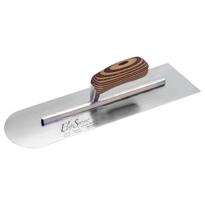 "Picture of Elite Series Five Star™ 14"" x 4"" Carbon Steel Round Front/Square Back Trowel with Laminated Wood Handle"