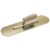 "Picture of 10"" x 3"" Golden Stainless Steel Pool Trowel with a Camel Back Wood Handle on a Short Shank"
