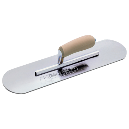 "Picture of 10"" x 3"" Chrome No Burn Pool Trowel with Camel Back Wood Handle"