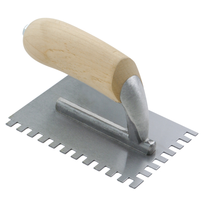 "Picture of 1/4"" x 1/4"" x 1/4"" Square-Notch Midget Trowel with Wood Handle"