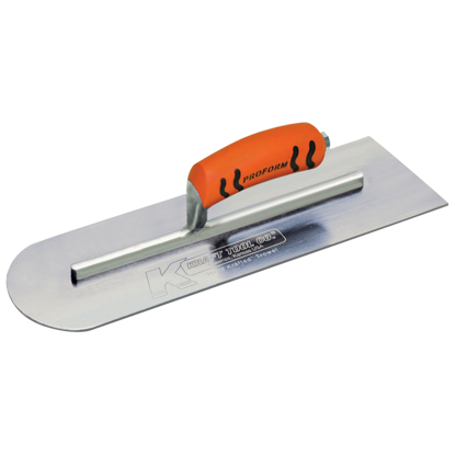 "Picture of 14"" x 4"" Round Front/Square Back Carbon Steel Cement Trowel with ProForm® Handle"