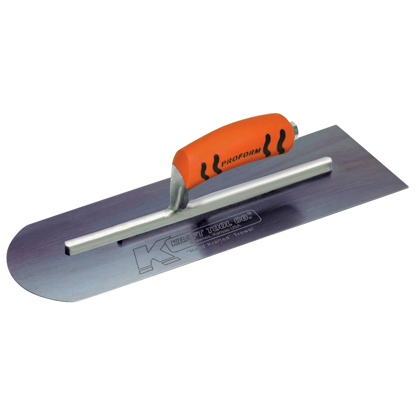 "Picture of 14"" x 4"" Round Front/Square Back Blue Steel Cement Trowel with ProForm® Handle"