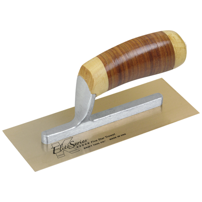"Picture of Elite Series Five Star™ 8"" x 3"" Golden Stainless Steel Midget Trowel with Leather Handle"