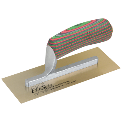 "Picture of Elite Series Five Star™ 8"" x 3"" Golden Stainless Steel Midget Trowel with Laminated Wood Handle"